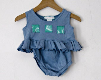 18 Month Baby Set, denim blue two piece set, Hand Dyed Cotton