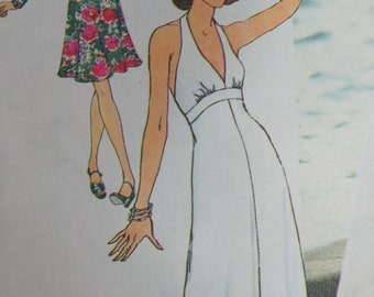 Sewing Pattern Vintage Simplicity 6658 Halter Dress Size 12 Factory Folded, wedding, prom, special occasion