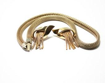 70's Mesh Set  Mini Parure Necklace  Choker Clip Earrings Gold Mesh  70's Fashion Snake Chain Tassel Earrings Vintage Mesh Jewelry