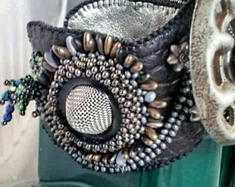INDUSTRIAL PARK:Bead Embroidered  and Woven Steampunk Cuff Silver Flower, black leather