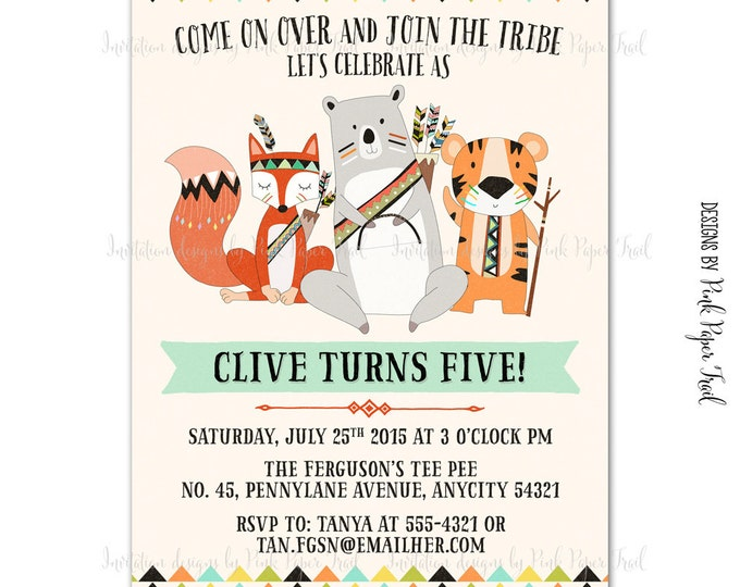 Tribal, Indian, Tee Pee, Aztec, Pow Wow, Animal Party Invitation, Customizable Wordings, Birthday, Baby Shower Print Your Own Invitation