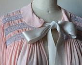 RARE 1940s Nightgown by Thea Tewi Original Pale Pink Rayon with Hand Smocking, Ruffles at Wrist, Large Satin Ribbon Peter Pan Collar