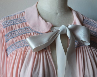 RARE 1940s Nightgown by Thea Tewi Original Pale Pink Rayon with Blue Hand Smocking Ruffles at Wrist Large Satin Ribbon Peter Pan Collar