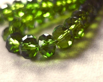 "Emerald Green Faceted Crystal Rondell Beads, 8mm x 6mm, 8"" long, 35-36 pieces"