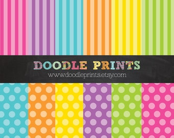 Rainbow Digital Scrapbook Printable Paper Set - Digital Paper - Polka Dots and Stripes - Bright Colors - Personal and Commercial Use