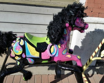 Hand Painted Funky Whimsical Rocking Spring Horse Sold