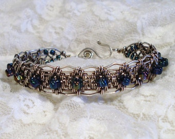 Sterling Silver Filled Wire Woven Bracelet Free US Shipping