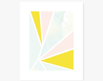 Art Print | Geometric Triangle Art | Delta | Modern Decor | Watercolor, Pastels
