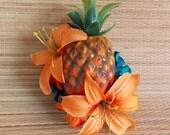 Orange and Teal Carmen Miranda Pineapple Fruit Hair Clip, Hawaiian PinUp Tropical Tiki Tiger Lily Flower Fascinator by Viva Dulce Marina
