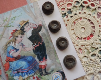 Free Shipping Buttons Vintage Brown Plastic Retro Knob Like Shape Set of Four Sewing Notion