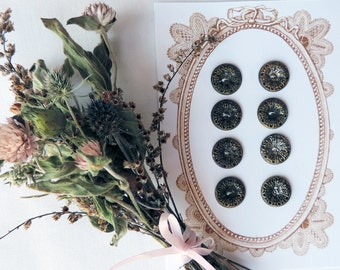 Metal Victorian Antique Buttons Card of 8 Brass Embossed Vintage Filigree Free Shipping