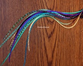 Purple Aqua Blue Feather Hair Clip in Feather Extension Seafoam Blue Purple Feather Clip Hair Accessories Plume Extension Boho Hair Clip
