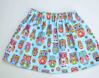 Size 3T Girls Skirt, Rainbow Owl Skirt, Blue Pink Purple Green, Ready to Ship 3 Cotton Twill Spring Summer Girls Clothing