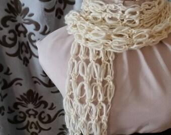 Wool Crochet Mesh Lace Scarf in Cream
