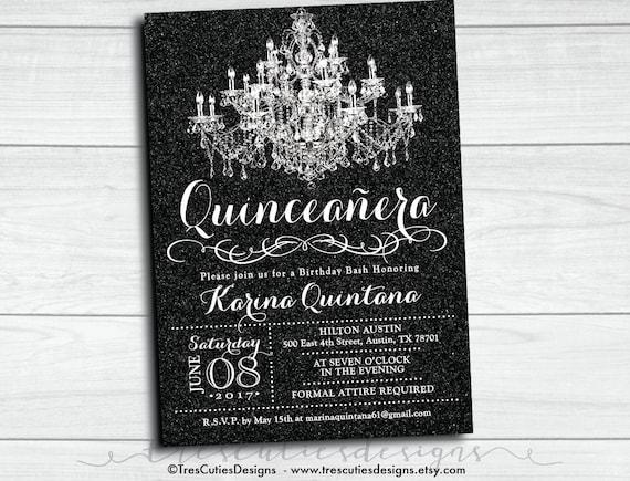 Sweet 16 Invitation   Quinceanera Invitation   Black Glitter Invitation    Printable   Glamour Invite