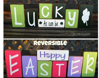 REVERSIBLE St. Patrick's Day and Easter wood block-Lucky as can be reverses with Hoppy Easter(paint)