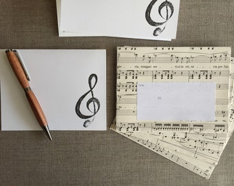 Sheet Music Note Card Set-Sheet Music Envelopes & Folded Note Cards