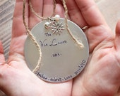 Personalized Christmas Ornament - Handstamped Custom Silver Ornament - Family - First Christmas - New Baby - Christmas Gift