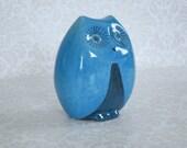 Vintage Italian Ceramic Owl Money Bank  /  Baldelli Italy Ceramic Coin Bank   /  Kitsch Blue Owl Pottery Gift Ideas