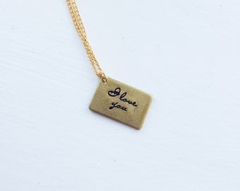 i love you, forever -necklace (gold plated chain with a bronze i love you forever message charm minimal discreet neckpiece)