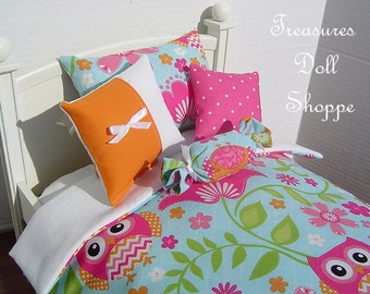 Doll Bedding 5 Pc Set for 18 Inch Dolls - Owl Whimsy