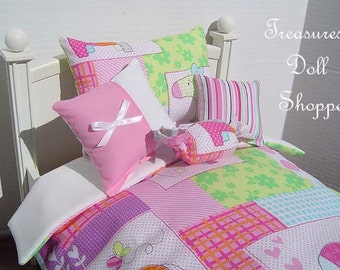 Doll Bedding 5 Pc Set for 18 Inch Dolls - Pastel Patchwork
