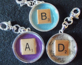 Custom Scrabble Initial Charm for Planner or Purse