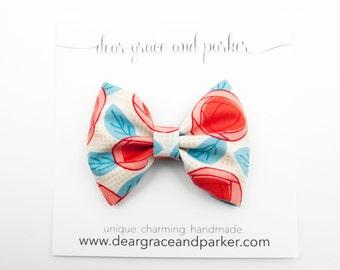 Roses || Fabric Bow Clip or Headband
