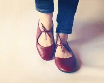 Ballet flats - Passion - Deep Red handmade leather shoes - CUSTOM FIT