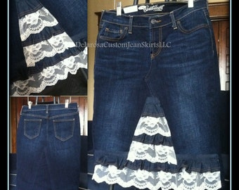DELAROSA Aspyn vintage lace ruffle denim skirt made to your size 0 2 4 6 8 10 12 14 16 18 20 22 24 26