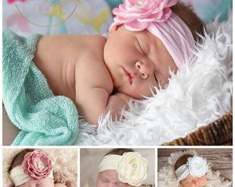 Baby headbands, Baby Headband, Newborn headband, Flower Headband, Pink Baby Headband, White baby headband, Baptism Christening Headband.