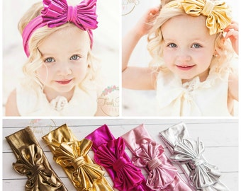 CLEARANCE Baby Headbands,Girls Head wraps,Metallic Messy Bow Baby Head wraps,Knit Headwraps,Big Bow Baby Headbands,Gold Knott Headband