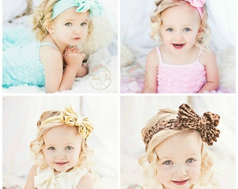 CLEARANCE SALE  Baby Headbands, Girls Head wraps, Metallic Messy Bow Baby Head wraps, Big Bow Baby Headbands,Gold Knott Headband,