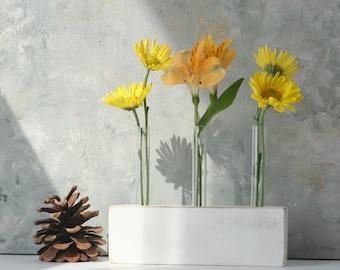 Test Tube flower vase, bud vase, wood, white vase, small vase, small gift