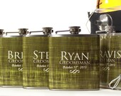 Gifts for Groomsmen, Set of 5 Flask Gift Sets, Outdoor Weddings, Distressed Green