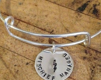 Mischief Managed • Harry Potter Jewelry • Adjustable Bracelet • Sterling Silver • Hand Stamped • Marauder's Map