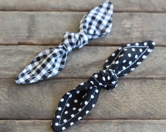 Black Knotted Hair Clips Black Polka Dot and Gingham Hair Bows Girl Hair Accessory Pony Tail Clips