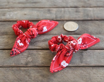 Red Bandanna Knotted Hair Bows on Red Bandana Baby Scrunchy Girl Hair Accessory Pony Tail Clips