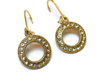 Circle Gold with Swarovski Crystal Earrings