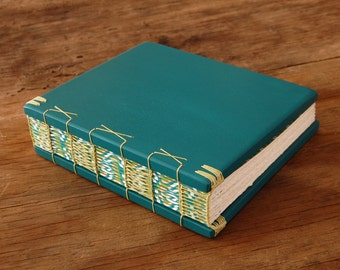 Wood Wedding Guest Book or Journal - Summer Wedding  Teal Blue Green Retro spring summer Wedding  Rustic Natural Beach Wedding Ready to Ship