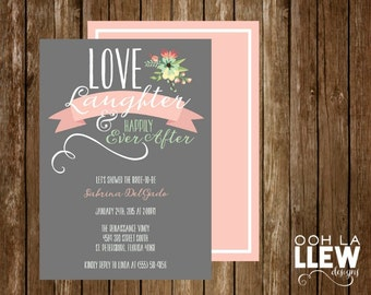 Love Laughter & Happily Ever After Bridal Shower Invitation