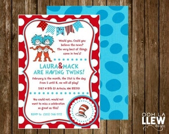 Dr. Seuss Twin Red and Blue Baby Shower Invitation