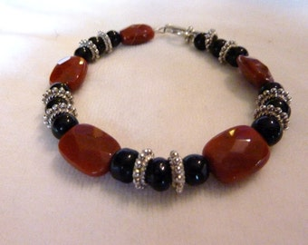 Petrified Wood Black Obsidian Silver Bracelet - 7 Inches - Red and Black