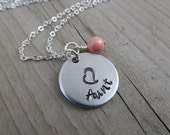 """Aunt Necklace- Hand-stamped """"Aunt"""" with a stamped heart and an accent bead in your choice of colors - Jenn's Handmade Jewelry"""