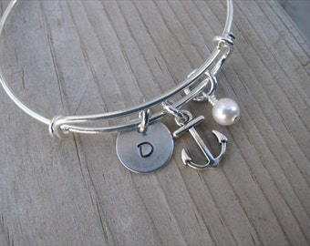 Anchor Bangle Bracelet- Adjustable Bangle Bracelet with Hand-Stamped Initial, Anchor Charm, and accent bead