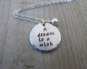 "Hand-Stamped Inspiration Necklace- ""A dream is a wish "" with an accent bead in your choice of colors - Jenn's Handmade Jewelry"
