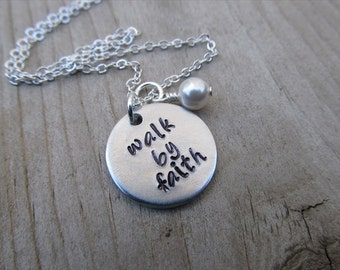 """Faith Inspiration Necklace- """"walk by faith"""" with and accent bead in your choice of colors-  hand stamped jewelry"""
