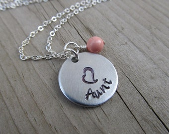 "Aunt Necklace- Hand-stamped ""Aunt"" with a stamped heart and an accent bead in your choice of colors - Jenn's Handmade Jewelry"