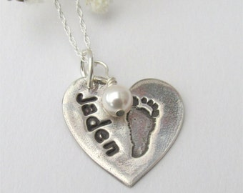Baby Footprint Necklace, Your Child's Actual Footprint, Baby Footprint Jewelry, Fine Silver Footprint