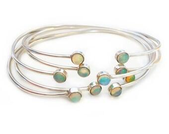 Delicate Gemstone Bangle-Opal or Labradorite, sterling silver bangle, cuff bracelet